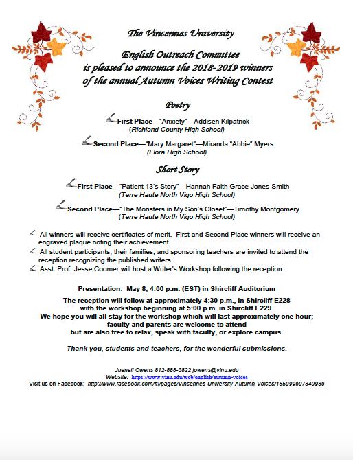 Autumn Voices - English - Vincennes University