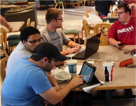 Principles of Management students spend time at the coffee shop in Vincennes University's Student Union to review and discuss their BizCafe results