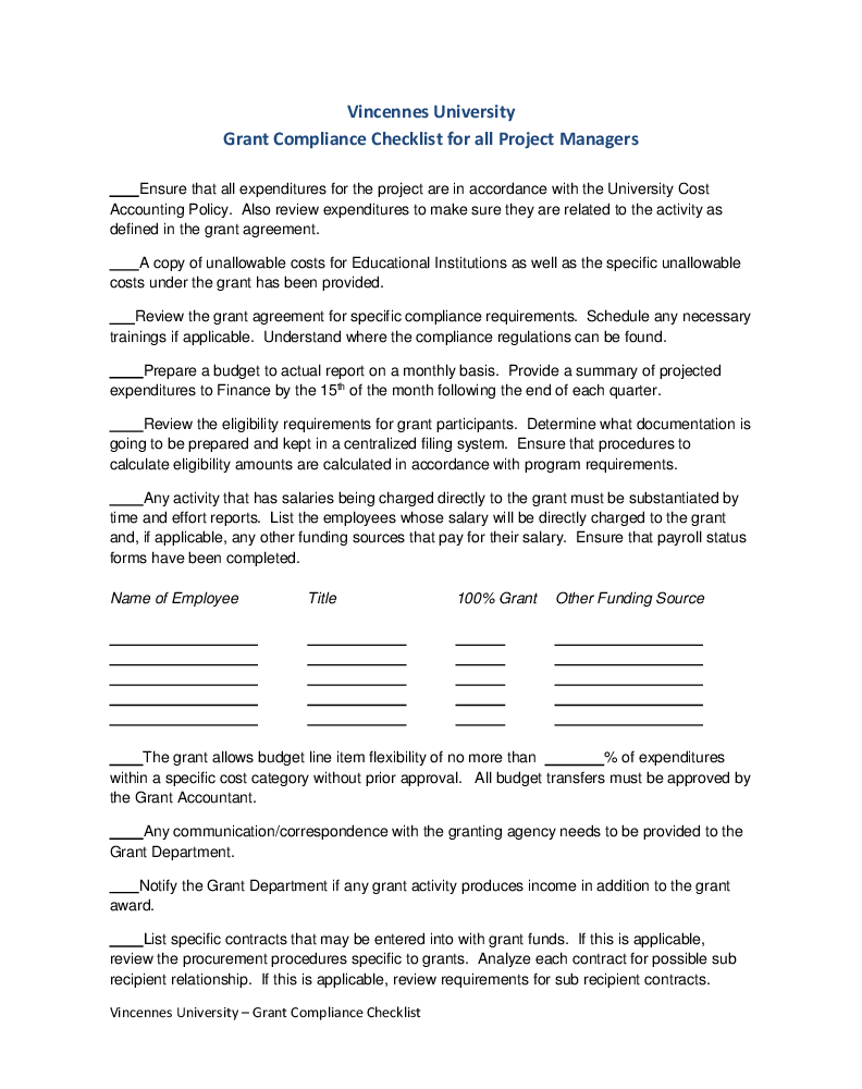 grant compliance checklist post award grant policies and loading