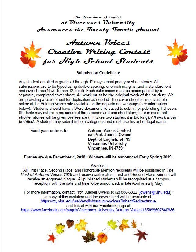autumn voices english vincennes university