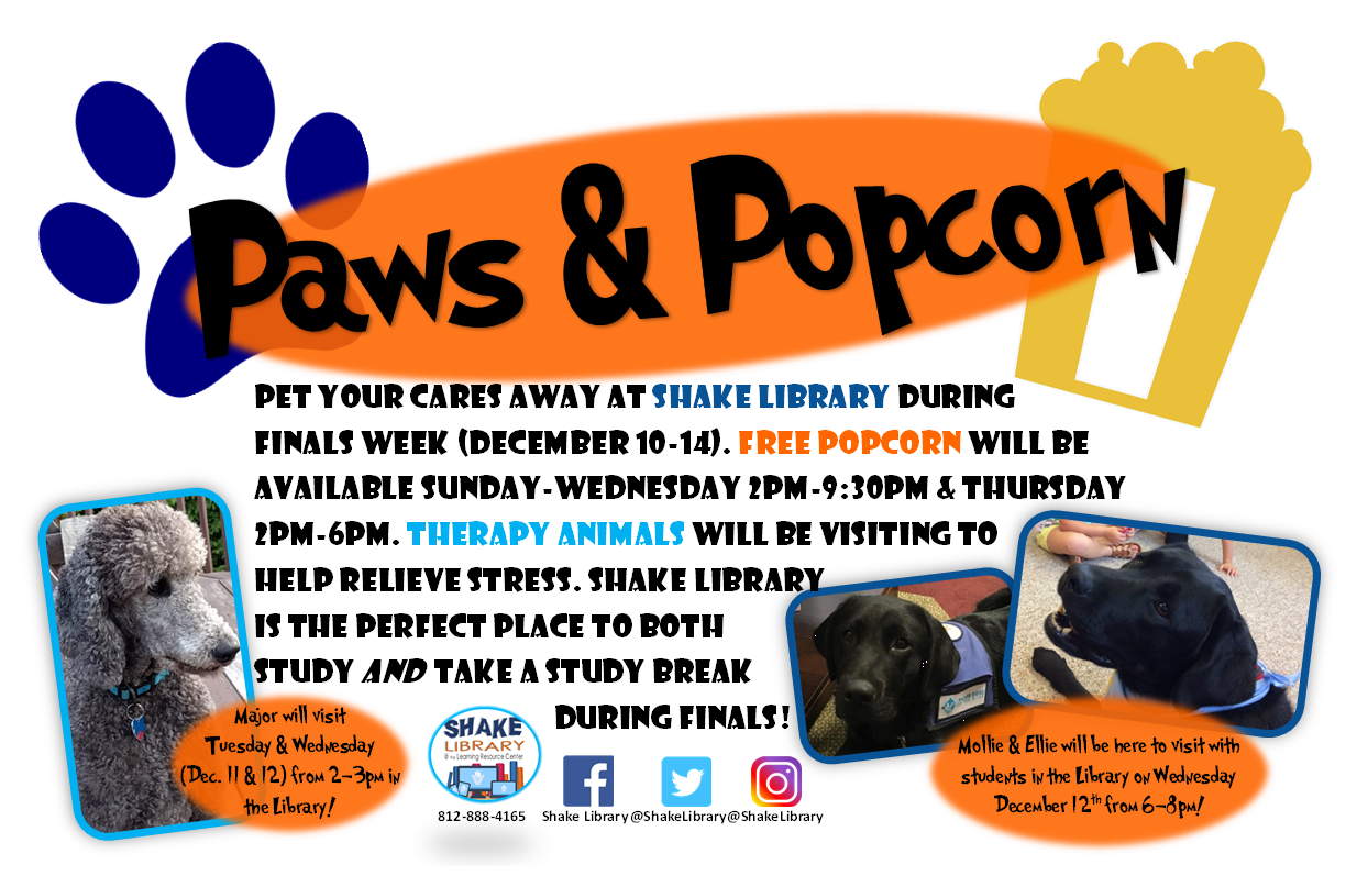 Paws and Popcorn at Shake Library during Finals Week