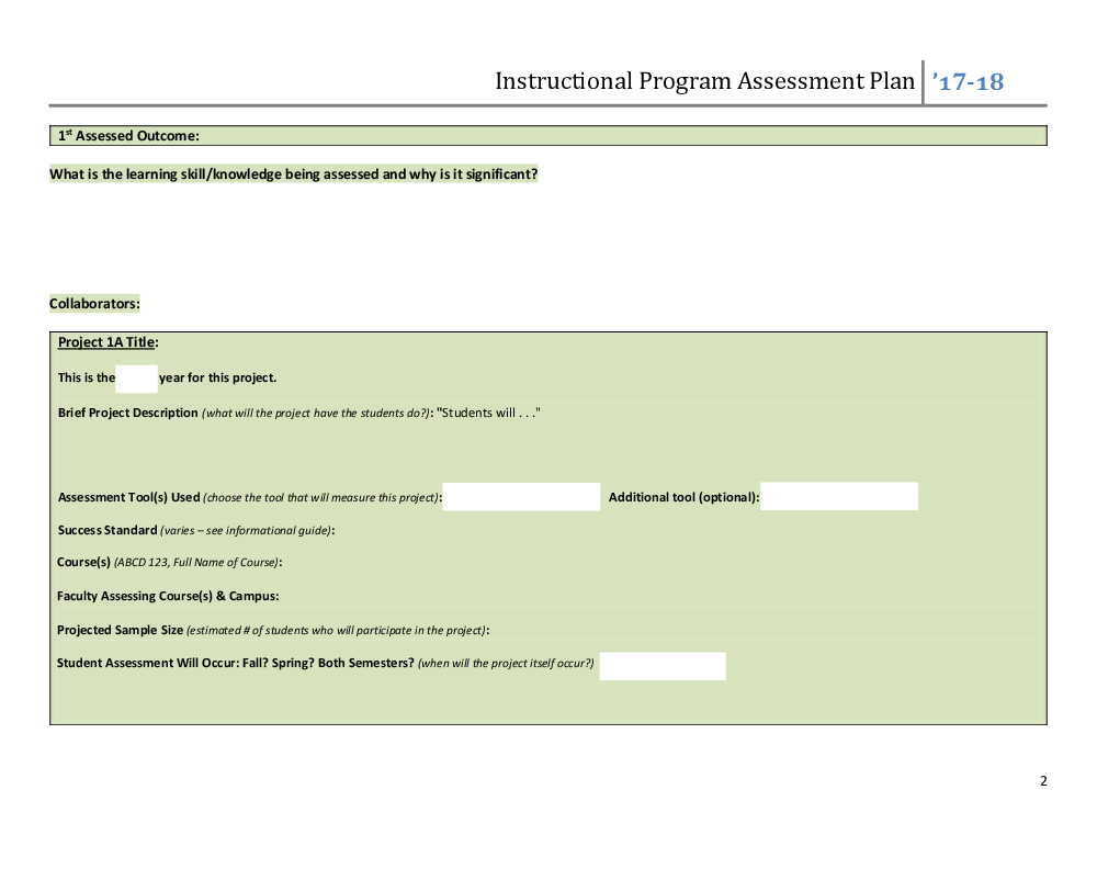 Assessment Plan Guides Templates Rubrics Institutional