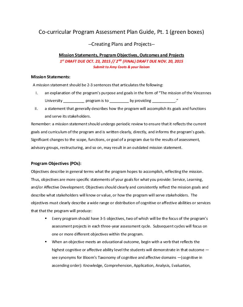 Assessment Plan Guides, Templates, Rubrics & Calendars