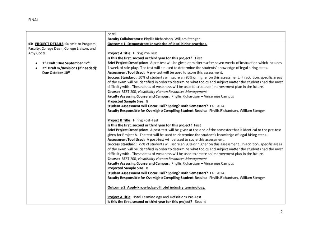 Assessment Plans - Institutional Effectiveness - Vincennes University