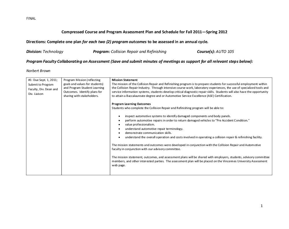Assessment Plans Institutional Effectiveness Vincennes University