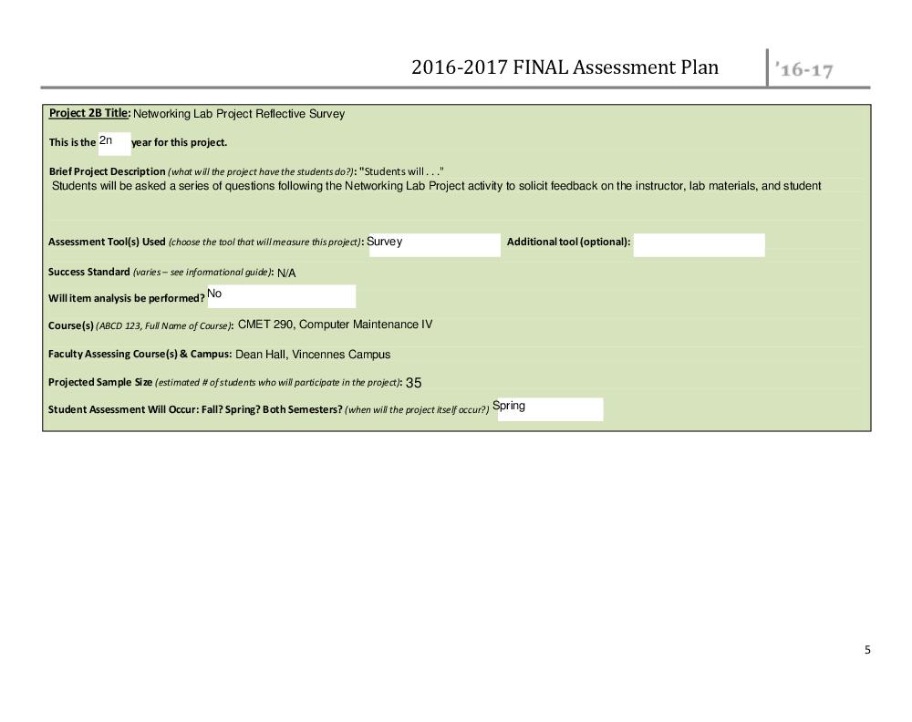 Assessment Plans - Institutional Effectiveness - Vincennes